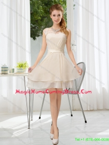 New Style 2015 Fall Bateau Belt Mini Length Homecoming Dresses with Lace Up