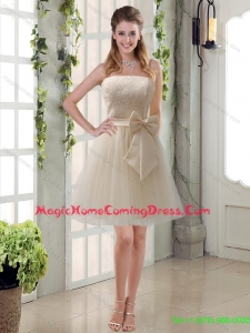 New Style Champagne Strapless Princess Bowknot Homecoming Dresses for 2015