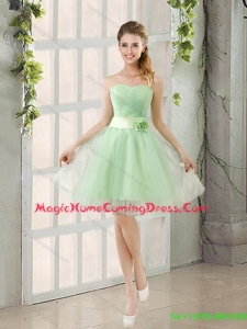 Pretty 2015 Summer A Line Sweetheart Lace Up Homecoming Dresses in Apple Green