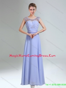 Pretty Lavender Scoop Belt and Lace Empire 2015 Homecoming Dresses
