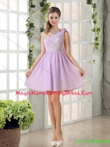 The Most Popular Lilace One Shoulder A line Homecoming Dress with Rushing