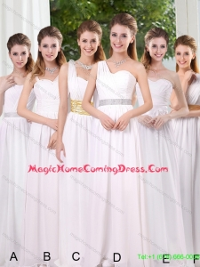 Top Seller White Ruching Empire Homecoming Dresses for 2015