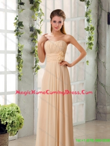 2015 Champagne Ruching Chiffon Homecoming Dresses with Sweetheart
