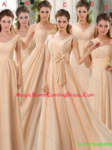 2015 Fashionable Champagne Ruching Chiffon Homecoming Dresses
