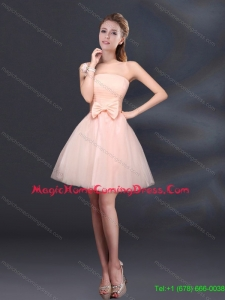2015 New Style Bowknot A Line Strapless Homecoming Dresses with Lace Up