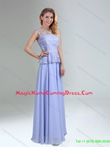 Lavender Belt and Lace Empire 2015 Homecoming Dress with Bateau