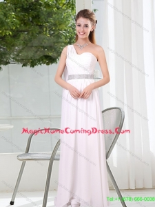 Luxurious One Shoulder Empire Ruching Sequins White 2015 Summer Homecoming Dresses