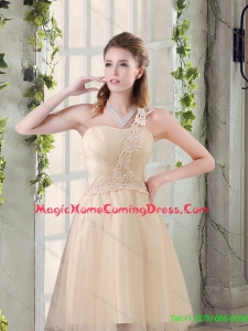 Popular A Line Appliques Homecoming Dress with One Shoulder