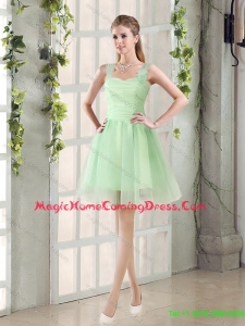 2015 Summer Top Seller Ruching Organza A Line Straps Homecoming Dresses with Lace Up