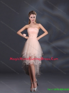 Appliques Strapless Ruffles Organza 2015 Top Seller Homecoming Dresses