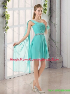 Beautiful 2015 One Shoulder A Line Beading and Ruching Homecoming Dresses with Lace Up
