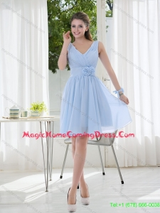 New Arrival 2015 V Neck Chiffon Homecoming Dresses with Ruching and Hand Made Flowers
