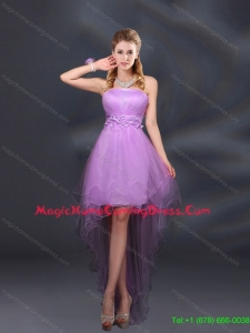 New Style 2015 Appliques and Ruffles A Line Strapless Homecoming Dresses