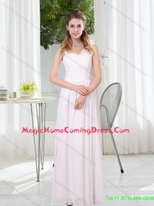 2015 New Arrival White Empire Ruching Homecoming Dresses with Asymmetrical