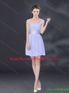 2015 Pretty Ruching and Belt Chiffon Homecoming Dresses in Lavender