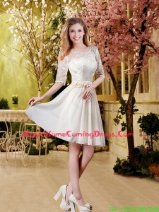 Cheap Champagne 2016 Homecoming Dresses with Lace and Belt