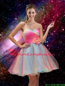 New Style A Line Hand Made Flower and Beaded 2016 Homecoming Dresses in Multi Color