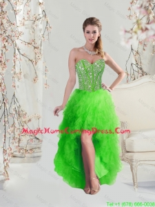 2016 High Low Sweetheart Spring Green Classical Homecoming Dresses with Beading