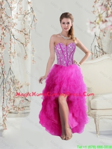 Classical High Low Sweetheart Fuchsia Homecoming Dresses with Beading and Ruffles