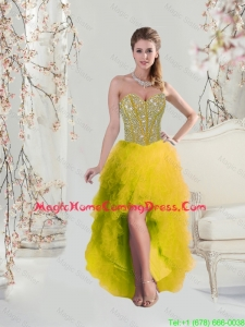 Classical High Low Sweetheart Yellow Homecoming Dresses with Beading and Ruffles