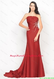 Beautiful Column Strapless Rust Red Lovely Perfect Homecoming Dresses with Brush Train