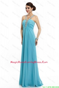Classical Brush Train Straps Beaded Homecoming Dresses in Aqua Blue