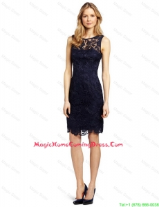 Gorgeous Column Bateau Laced Homecoming Dresses in Black for 2016