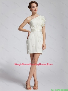 Beautiful Latest Appliques and Belt Homecoming Dresses with One Shoulder