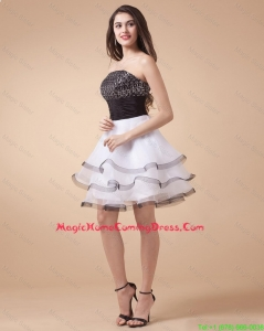 Beautiful Sequined White and Black Lovely Perfect Homecoming Dresses with Mini Length