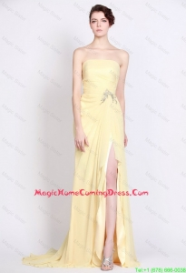 Beautiful Strapless Beaded and High Slit Homecoming Dresses in Yellow