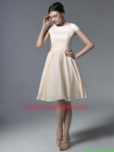 Cheap 2016 Inexpensive Short Champagne Homecoming Dresses with Ruching