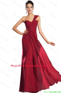 Discount One Shoulder Ruched Lovely Perfect Homecoming Dresses in Wine Red