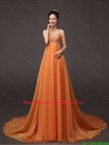 Fashionable Court Train Lovely Perfect Homecoming Gown with Beading and Ruching