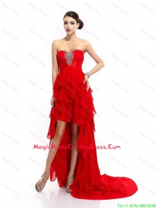 Fashionable High Low Lace Up Lovely Perfect Homecoming Gowns with Ruffled Layers