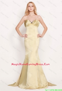 Latest Mermaid Sweetheart Gold Homecoming Dresses with Brush Train