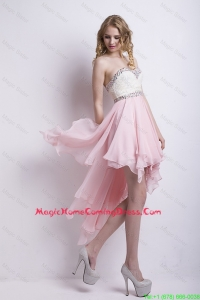 New Arrivals Sweetheart Beaded Homecoming Dresses with High Low