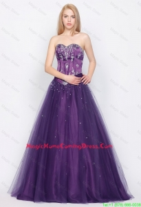 Popular A Line Sweetheart Lace Up Lovely Perfect Homecoming Gowns in Purple