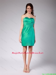 2016 Exquisite Ruching Mini Length Lovely Perfect Homecoming Dress in Turquoise