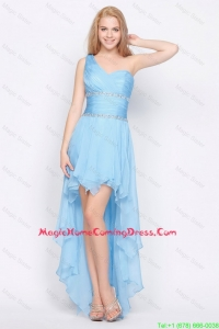 Cheap Affordable One Shoulder Beading High Low Homecoming Dresses in Baby Blue