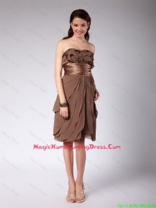 Cheap Elegant Ruffles and Belt Short Homecoming Dresses in Brown for 2016