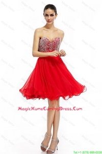 Cheap Romantic A Line Sweetheart Beaded Homecoming Dresses in Red