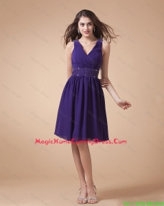 Comfortable V Neck Beading Short Homecoming Dress in Eggplant Purple