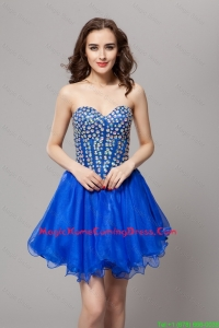Elegant A Line Lace Up Beaded Lovely Perfect Homecoming Gowns in Blue