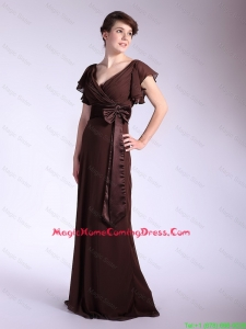 Elegant Belt and Bowknot Brown Homecoming Dresses with Brush Train