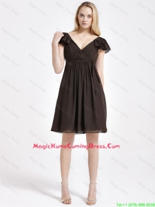 Exclusive V Neck Sashes Short Homecoming Dresses in Brown