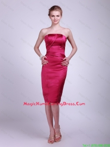 Fashionable Strapless Knee Lengt Homecoming Gowns in Wine Red