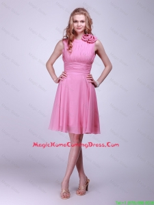 Gorgeous Rose Pink Lovely Perfect Homecoming Dresses with Pleats and Hand Made Flowers for 2016