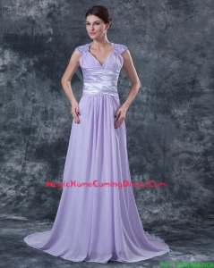 2015 Pretty Empire V Neck Homecoming Dresses with Beading in Lavender