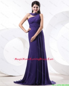 2016 Elegant Ruching Eggplant Purple Homecoming Dress with Brush Train