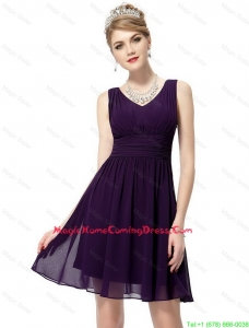 Beautiful V Neck Dark Purple Homecoming Dresses with Ruching